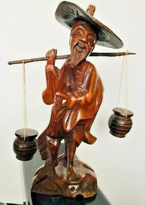 Vintage Hand Carved Wooden Fish Monger Statue