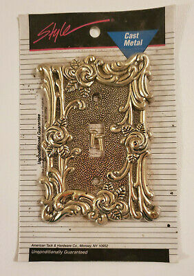 NOS Vtg SHINY ANTIQUE GOLD ROSES LIGHT SWITCH COVER American Tack METAL NEW