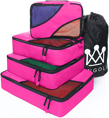 4 Set Packing Cubes, Travel Luggage Packing Organizer with Laundry Bag 7 Colors