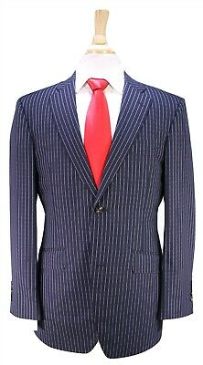 RICHARD JAMES Savile Row Navy Blue Bold Pinstripe 2-Btn Slim Fit Wool Suit 38R
