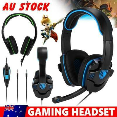 AU Gaming Headset Mic Headphones Surround for PC Mac PS4 Xbox One Laptop sM