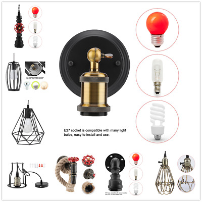 E27 Vintage Country Style Black Simple Hallway Cafe Iron Wall Lamp Sconce Light