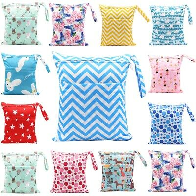 Reusable Pick Wet Dry Baby Cloth Waterproof Diaper Nappy Bag Two Zipper Pockets