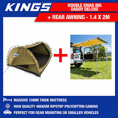 Adventure Kings Double Swag Big Daddy Deluxe + Kings Rear Awning - 1.4 x 2m
