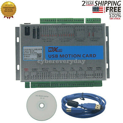 USB 2MHz Mach4 CNC 4Axis Motion Control Card Breakout Board for Machine USA Ship