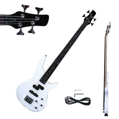 "New 34"" IB Basswood 24 Frets Electric Bass Guitar White"