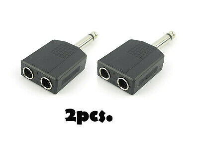 "New 2x Mono 6.35mm 1/4"" Splitter 1 Male Plug to 2 Female Jack Audio Y Adapter"