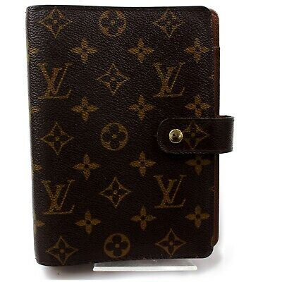 Authentic Louis Vuitton Diary Cover Agenda MM Browns Monogram 1303057