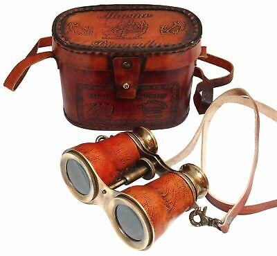 Nautical Brass Royal Navy Binocular Brass Antique With Leather Case
