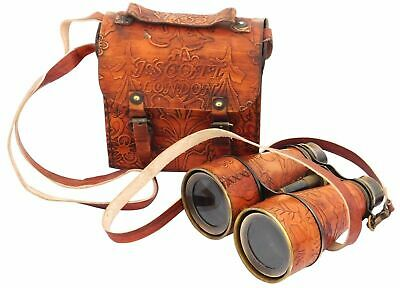 Antique Maritime J.Scott Solid Brass Binocular with Beautiful Leather Cover