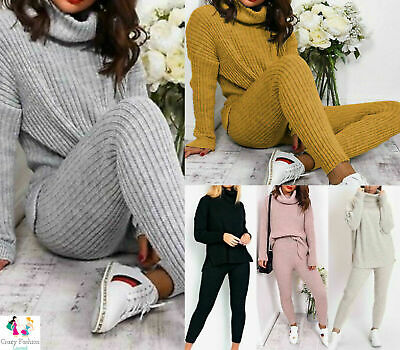 Women's Ladies High Roll Neck Chunky Knitted Top Bottom Loungewear Tracksuit Set