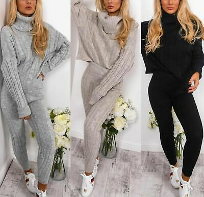 Women's Chunky Cable Knitted High Roll Neck Top Bottoms Loungewear Tracksuit Set