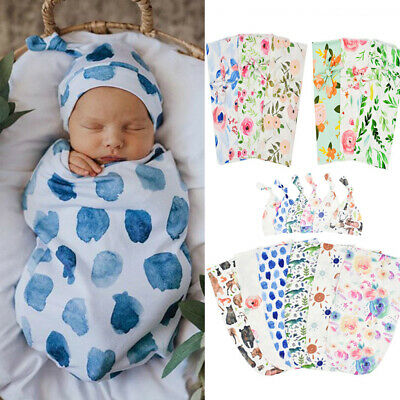 Newborn Infant Baby Print Blanket Receive Blanket Swaddle Wrap+Headband Outfits