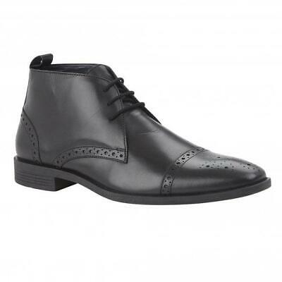Lotus Bradley Mens Black Leather Lace Up Brogue Ankle Boot