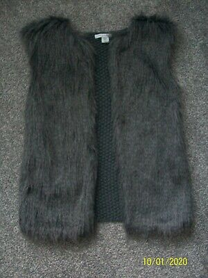 PRIMARK Girls Grey Faux Fur Gilet Age 9 - 10 years
