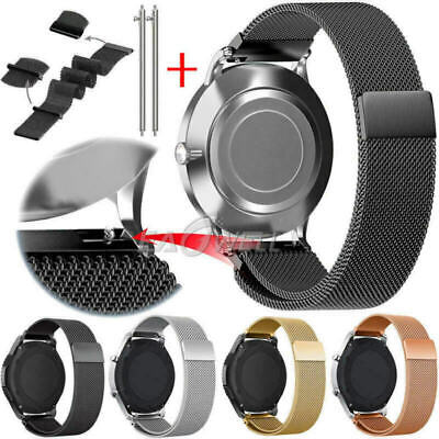 20 22mm Milanese Magnetic Loop Strap Replacement Watch Band Quick Release Pins