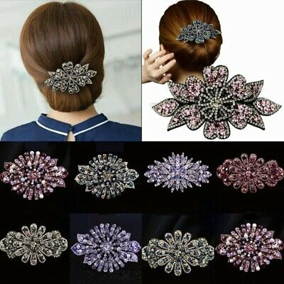 Flower Hair Clips Show Women's Accessories Claw Pins Clips Ponytail Crystal