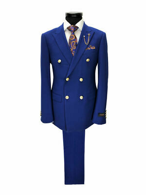 PAMONI Cobalt Blue Double Breasted Suit With Gold Button