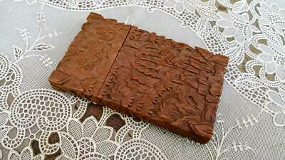 Antique Carved Sandalwood Chinese Calling Card Case