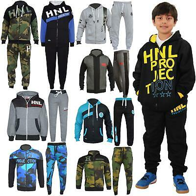 Kids Girls Boys Tracksuit HNL Hooded Top Bottom Workout Sportswear Jogging Suits