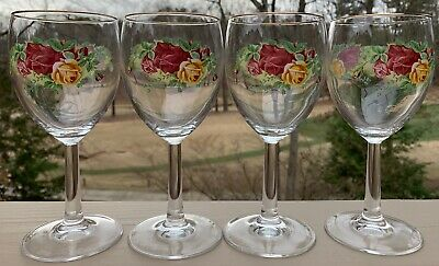 Royal Albert, Old Country Roses, Boxed Set of 4 All Purpose Glass Goblets, 1990