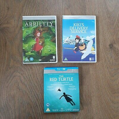 3 x STUDIO GHIBLI DVD'S - KIKI'S DELIVERY SERVICE, ARRIETY AND THE RED TURTLE