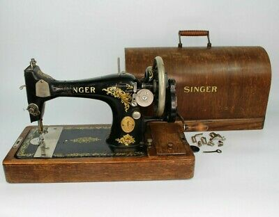 Vintage Antique Singer Hand Crank Sewing Machine 'Y' Prefix 1924 Working + Case