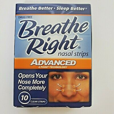 Breathe Right Nasal Strips Advanced 10 Clear Strips 1 Box for snoring