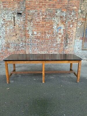 Very Large Rustic Vintage Oak Table With Painted Black Top - Kitchen / Dining