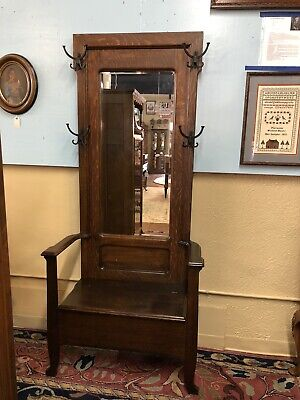 Antique Oak Hall Tree Lg Beveled Mirror Original Black Cast Iron Hat Coat Hooks