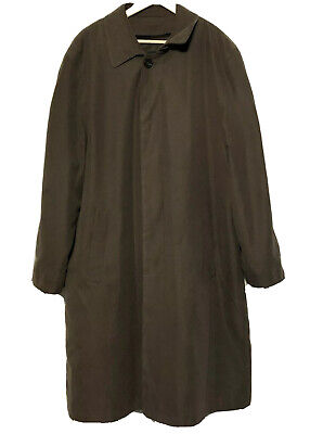 Brooks Brothers 346 Mens Long Trench Coat Removable Lining Wool Blend Brown 42