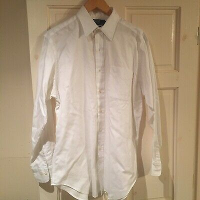 Polo By Ralph Lauren Men's Andrew Two-Ply Cotton White Long Sleeved Shirt 151/2""