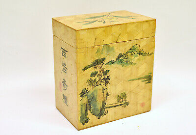 Vintage Chinese Hand Painted Woven Bamboo Tea Caddy Box with Calligraphy