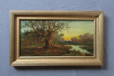 Antique 19thc Hudson River School  Luminism Oil Landscape Painting with Sheep