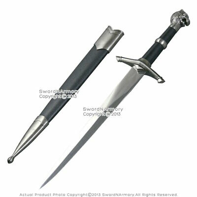 """15.5"""" Medieval Historical Dagger Short Sword with Lion Head Handle and Scabbard"""