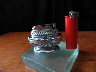 Vintage Art Deco Fuel Table Lighter by MTC Japan Working White Metal