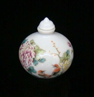 Collectible 100% Handmade Painting Porcelain Snuff Bottles Flower Bird 35