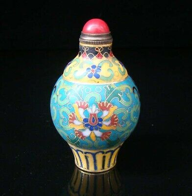 Collectibles 100% Handmade Painting Brass Cloisonne Enamel Snuff Bottles 003