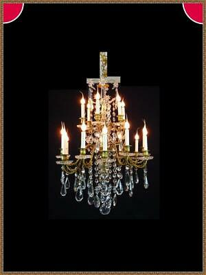 Baccarat Antique Brass Bronze Crystals French WIred Chandelier 18 Light 1900s
