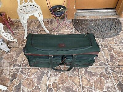 ORVIS Battenkill Canvas Rolling Duffle Bag Luggage Leather Canvas