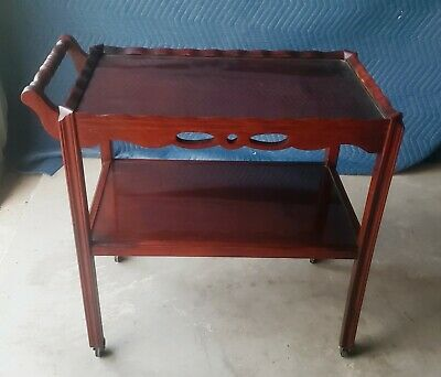 Early 1900s English Mahogany Tea Trolley bar serving cart rolling dessert table