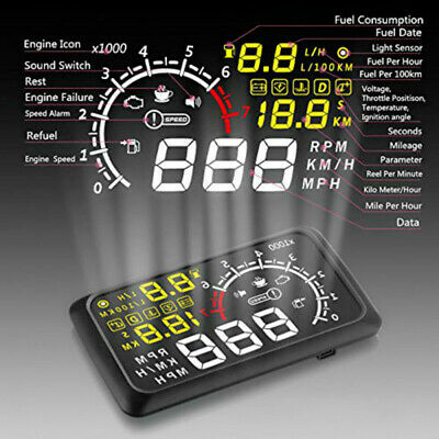 "Car LCD 5.5"" HUD Head Up Display OBD2 II Speedometers Engine Over Speed lz"