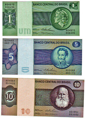 BRASIL,COLLECTION OF 3 DIFFERENT  CRUZEIROS BANK NOTES , postage free