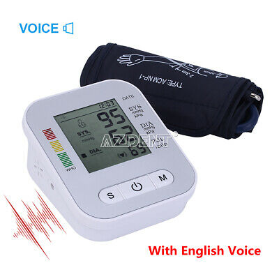Blood Pressure Arm Portable Health Care Electronic LCD English Voice Broadcast
