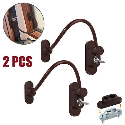 2X Window Door Restrictor Brown Child Baby Safety Security Lock Cable Catch Wire