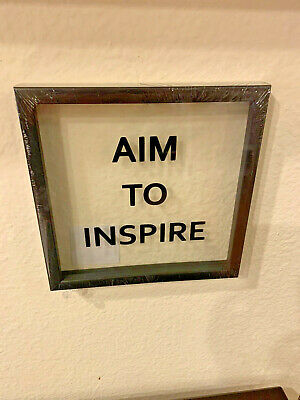 "Clear Square ""Aim To Inspire"" Wall Decor Sign"