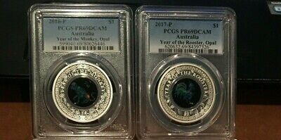PCGS Australia Lunar Series Opal Silver Proof Monkey Rooster Dog 69 / Pig PR 70