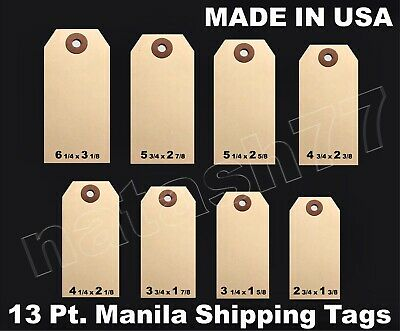 100 Manila 13 Pt. Inventory Shipping Hang Label Price Tags Size #1,2,3,4,5,6,7,8
