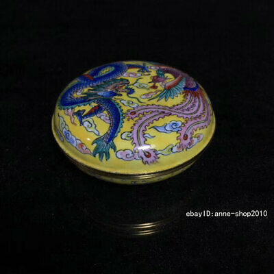 7.5cm Marked China Old Cloisonne Brass Bronze copper Dragon Rouge box AHHH