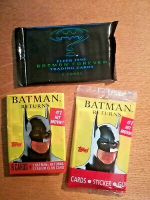 Three Batman SEALED Packets of trading cards/Stickers 1991/5. Returns & Forever
